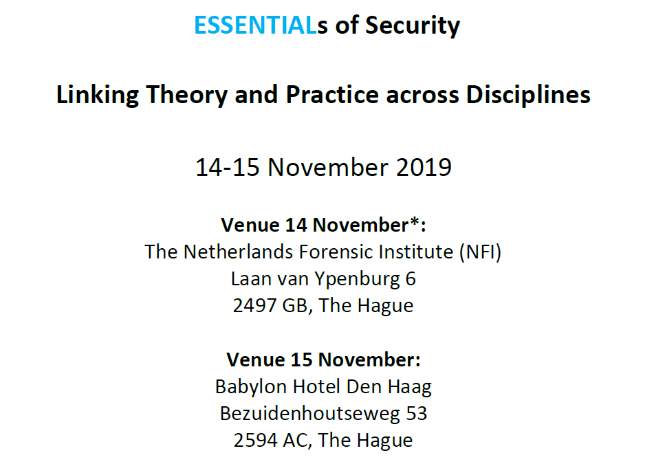 Save the Date: ESSENTIALs of Security conference (14-15 November, The Hague)